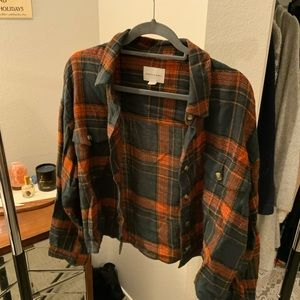 American eagle cropped summer flannel
